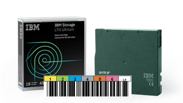 IBM LTO 9 Tape (BaFe) with Custom Barcode Label (02XW568-BC)