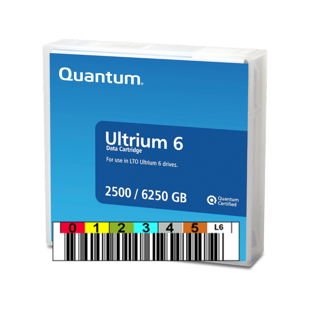 Quantum LTO Ultrium 6 Tape (MP) with Custom Barcode Label   - MR-L6MQN-03-BC