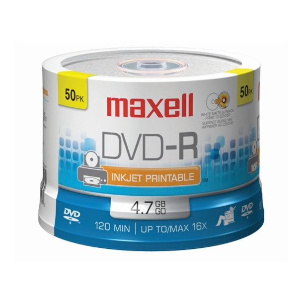 Maxell DVD-R Disc 4.7GB 16x White Matte InkJet Hub Printable