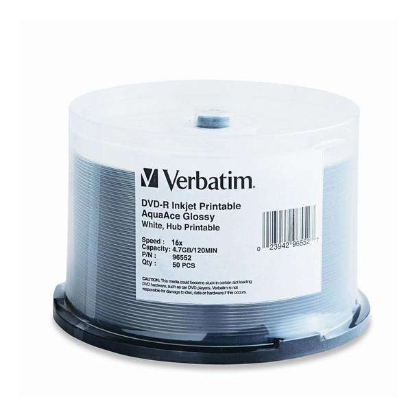 Verbatim 96552 DVD-R 16X Aqua Ace Glossy White InkJet Printable, HUB Printable