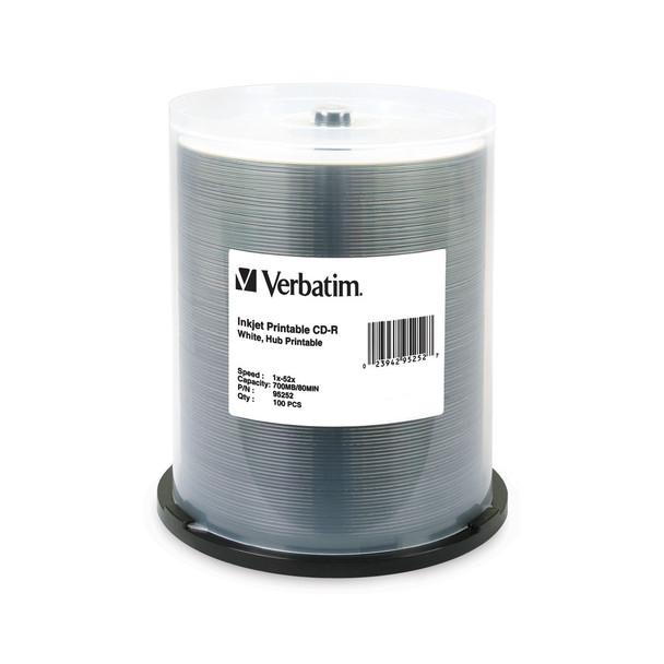 Verbatim 95252 CD-R 80MIN 700MB 52X White Inkjet Printable, Hub Printable - Spindle