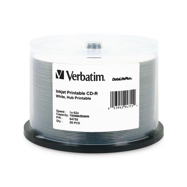Verbatim 94755 CD-R 80MIN 700MB 52X DataLifePlus White Inkjet, Hub Printable