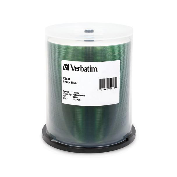 Verbatim 94970 CD-R Shiny Silver Silk Screen Printable (100 Disk Spindle)