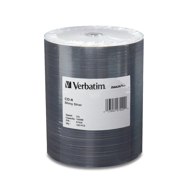 Verbatim CD-R 97020 80MIN 700MB 52X DataLifePlus Shiny Silver Tape Wrap-Increments of 100