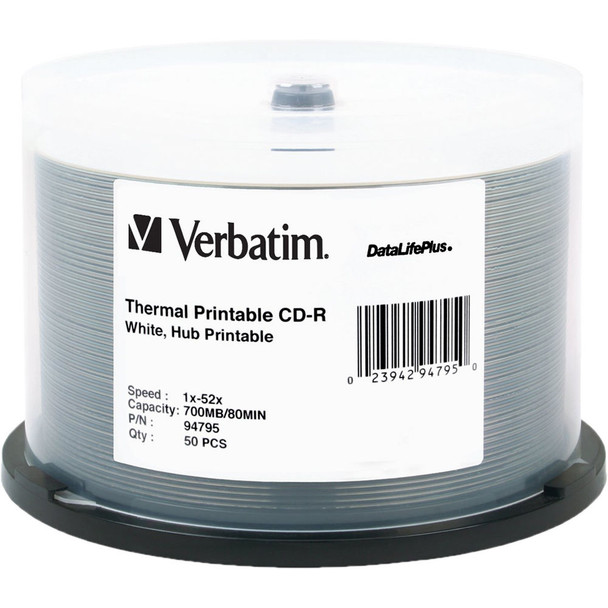 Verbatim CD-R Disc White Thermal Hub Printable 94795 50 Disc Spindle