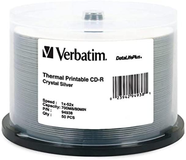 Verbatim CD-R 94938 Crystal (Everest) Thermal Printable  Disc 80MIN 700MB 52X DataLifePlus Spindle of 50 disc