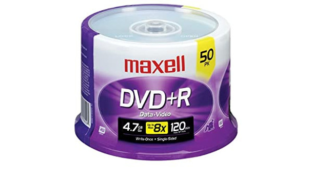 Maxell DVD+R Disc 4.7GB/120 Min. 16x 639013  50 Disc Spindle