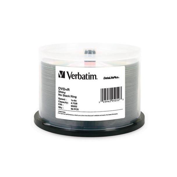 Verbatim 95052 DVD+R 4.7GB 8x DataLifePlus, Shiny Silver Surface 50 Disc Spindle