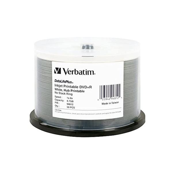 Verbatim 94812 DVD+R 4.7GB for General use 8X White Inkjet Hub Printable 50 Disc Spindle