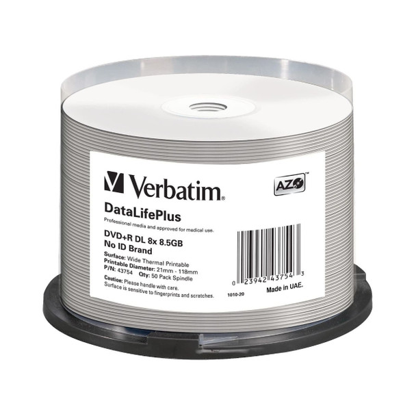 Verbatim 43754 DVD+R DL Disc 8.5GB 8x White Thermal Everest Hub Printable 50 Disc Spindle