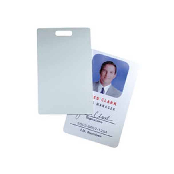 HID Direct Image 1324GBV22 Glossy Label/Card ISOProx II and ProxCard II size with slot punch, brown (3M) adhesive back - Box of 100