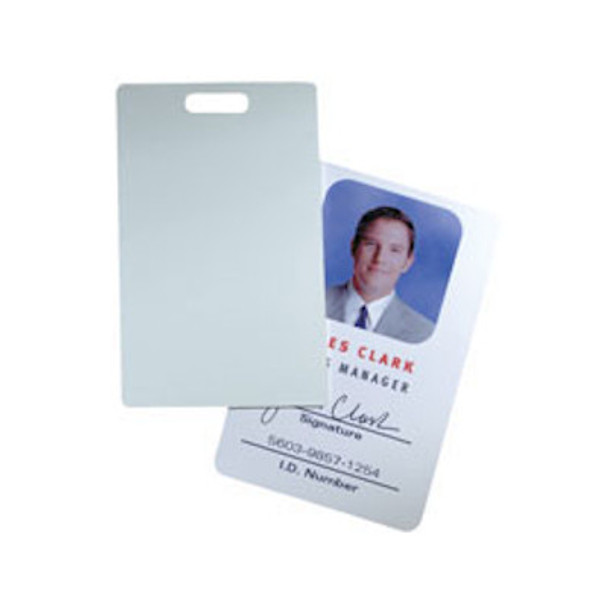 HID 1324GAV21 Glossy Label Card ProxCard II size with slot punch, white adhesive back - Box of 100