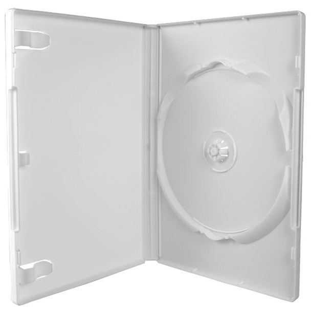 Standard White DVD Case with Textured Interior with Literature Clips and Overlay - Open