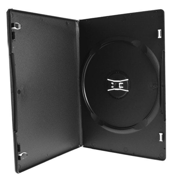 Slim DVD Case Matte Black 7mm 100-Percent Recycled, Overlay & Literature Clips Box of 100 Open