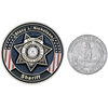 Custom challenge coin size comparison.
