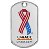 Custom U-haul color printed dog tag on a matte tag.
