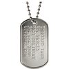 Custom military dog tag with silver ball chain in a matte finish. Classic military style dog tag that is sold at low wholesale/factory direct prices. These dog tags have no setup fees and come with a free dog tag chain, which is made by the same company that manufactures and supplies the U.S. Military with all of its iconic dog tag chains.