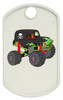 White monster dog tag with a monster truck color printed on one side.