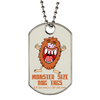 Extra large monster dog tag with silver ball chain necklace.