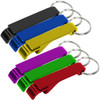 Multiple color keychain wrench bottle openers.
