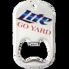 A custom middle slot dog tag bottle opener with color printed miller lite logo.