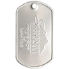Custom embossed logo dog tag with summit logo on a shiney dog tag.