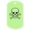 Skull and crossbones glow in the dark dog tag