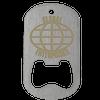 Laser engraved dog tag bottle opener in middle slot type with globe imprint.