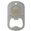 Laser engraved dog tag bottle opener in middle slot style on a stainless steel tag with crab imprint.