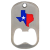 Offset printed bottle opener stainless steel middle slot with the state of texas artwork.