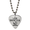 Nickel plated custom guitar with an etched logo filled with black coloring on a ball chain necklace. These guitar picks were done for Lee Deyze for his concert tours in partnership with Warner Bros. We made close to 100000 of these Lee Deyze custom guitar picks and were sold at lower than wholesale prices.