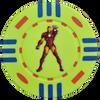 Yellow custom poker chip with iron man