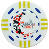 White custom poker chip with casino royale.