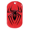 Custom offset printed dog tag with spider design and red background.