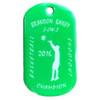 Green offset printed dog tag. Basketball tournament award.