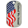 Custom 1.5mm aluminum offset printed dog tag with United We Stand artwork.