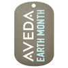 Aveda Earth Month custom photo etched dog tag on aluminum tag.