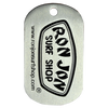 Ron Jon Stainless steel photo etched dog tag with black color fill one side.