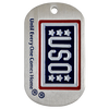 1.5mm thick stainless steel photo etched dog tag with USO artwork etched into the tag. Red, white, and blue color fill.