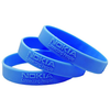 Blue embossed silicone wristbands with nokia logo embossed no color fill.