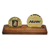 wooden coin stand with 2 coins