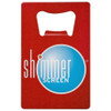 red coated custom credit card bottle opener with shimmerscreen logo.