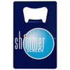 blue coated custom color printed credit card bottle opener with shimmerscreen logo.