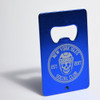 Aluminum blue credit card bottle opener with laser engraved design on the front. The design is the New York Isles Social Club Est 2017.