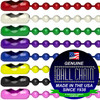 colored dog tag chains red, white, green, purple, blue, yellow, black, pink. 30 inches long carbon steel with colored epoxy coating on top.