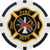Custom single tone black poker chip. 11.5 grams with color printed fire dept logo in the middle.