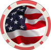 Custom color printed red single tone poker chip. With american flag color printed in the middle of poker chip.