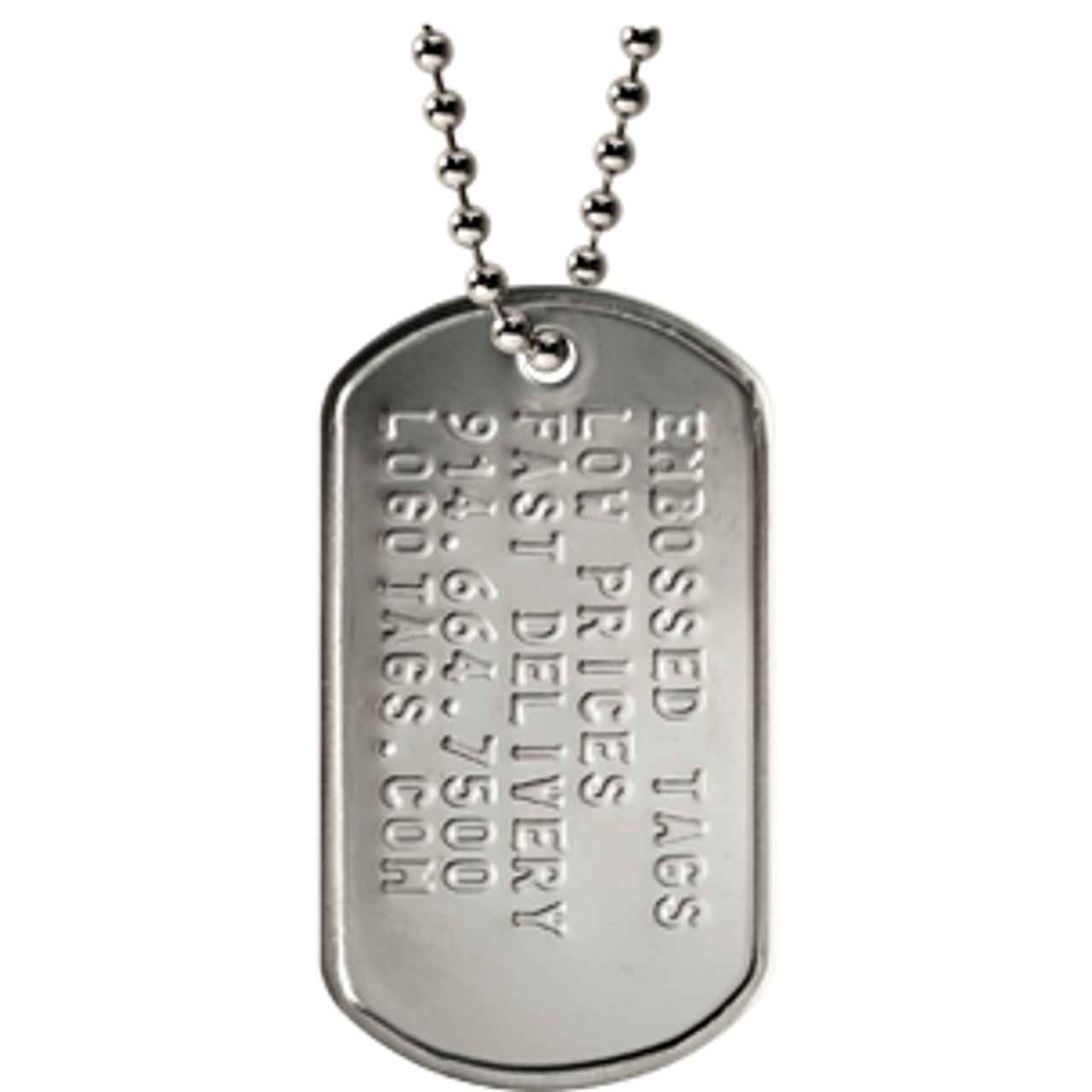 37c02ca61f Custom military dog tag with silver ball chain in a matte finish. Classic  military style