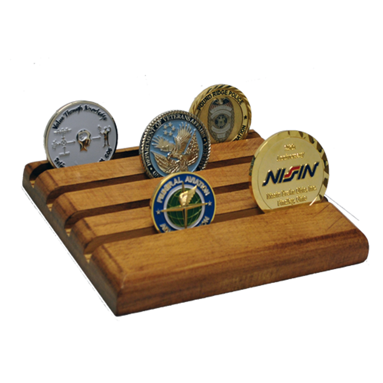 Wooden Challenge Coin Display Stand 4 Rows Flat
