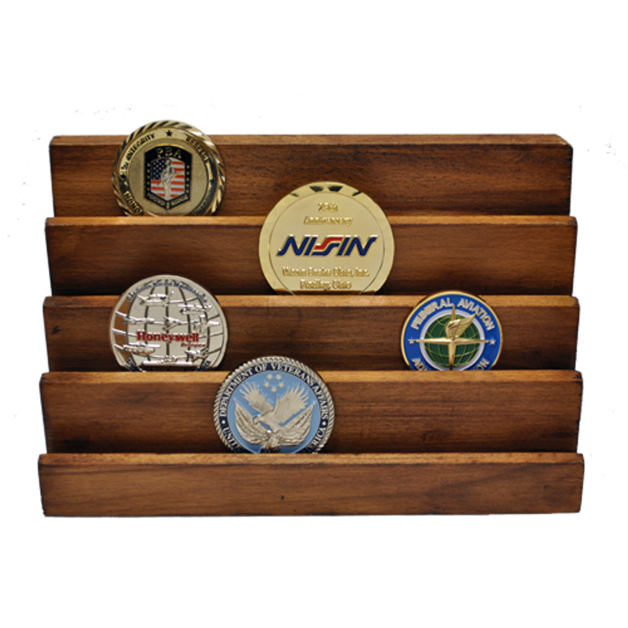 Wooden Challenge Coin Display Stand 4 Vertical Rows